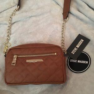 Steve Madden belt quilt chain crossbody brown bag